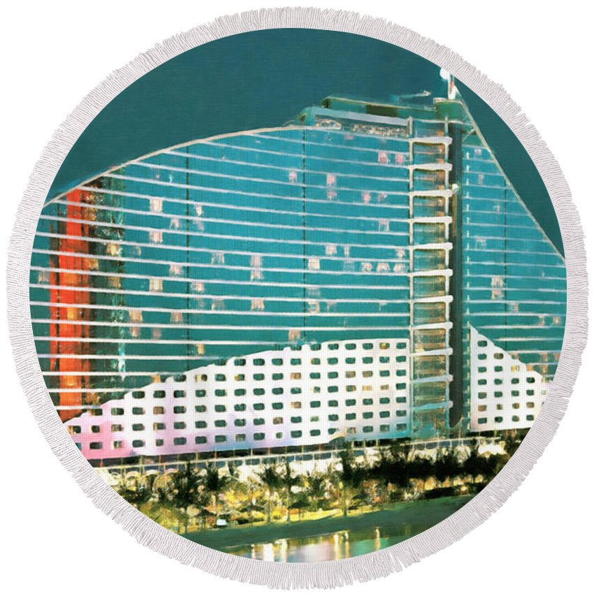 Beach Round Beach Towel featuring the painting Jumeirah Beach Hotel by Jeelan Clark