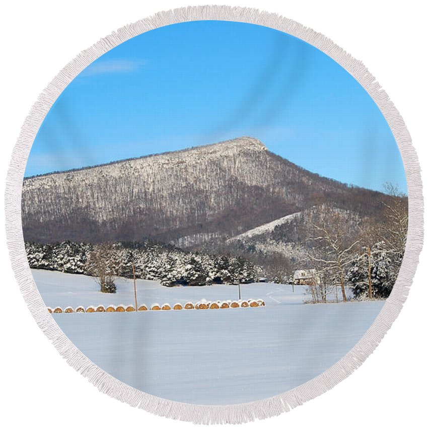 Jump Mountain Round Beach Towel featuring the photograph Jump Mountain by Todd Hostetter
