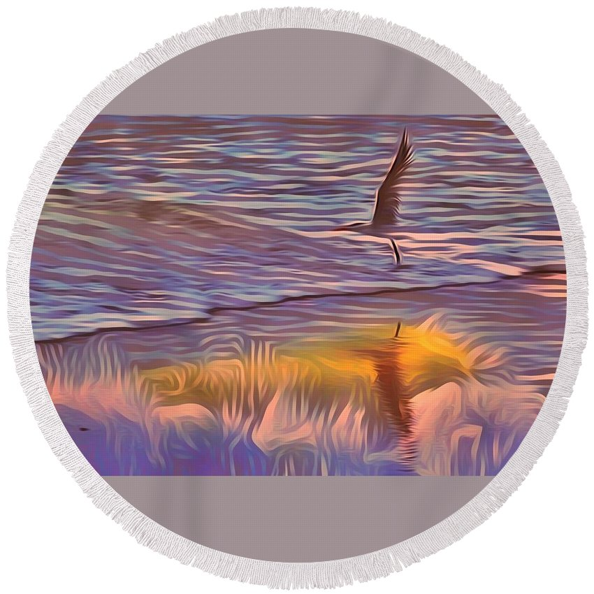 Seagull Round Beach Towel featuring the photograph Jumping For Joy by Patricia Black