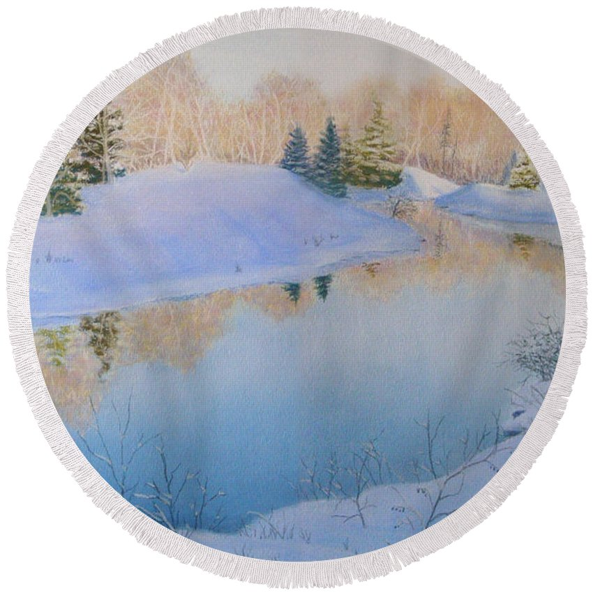 Landscape Round Beach Towel featuring the painting Junction Creek by Lynn Quinn