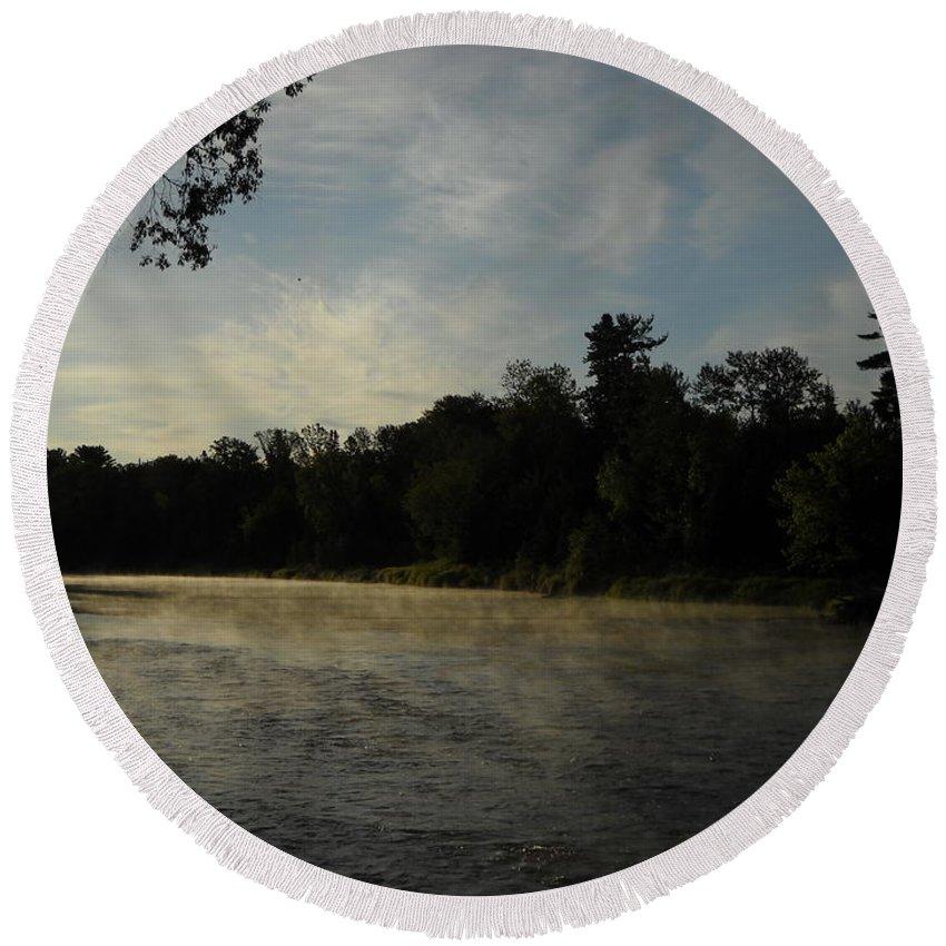 Mist Round Beach Towel featuring the photograph June Mississippi River Misty Dawn by Kent Lorentzen
