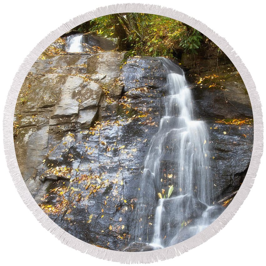 Juney Round Beach Towel featuring the photograph Juney Whank Falls In Nc by Jill Lang