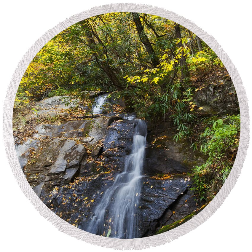Juney Round Beach Towel featuring the photograph Juney Whank Falls In North Carolina by Jill Lang