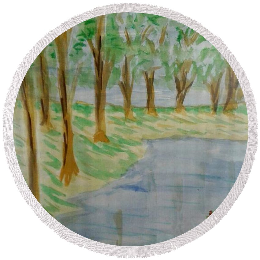 Lake Round Beach Towel featuring the painting Jungle-brookside by Ayyappadas-KCME