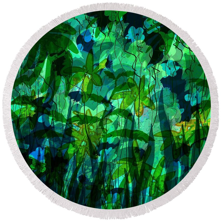 Abstract Round Beach Towel featuring the digital art Jungle Colors by Rachel Christine Nowicki