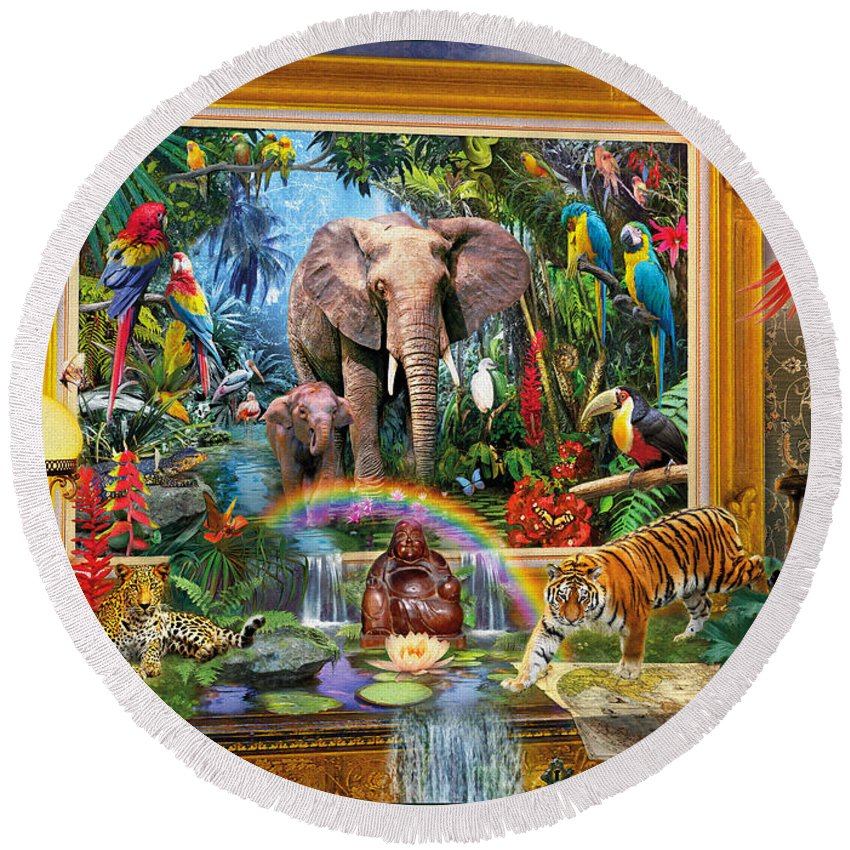 Jan Patrik Krasny Round Beach Towel featuring the digital art Jungle Coming by MGL Meiklejohn Graphics Licensing