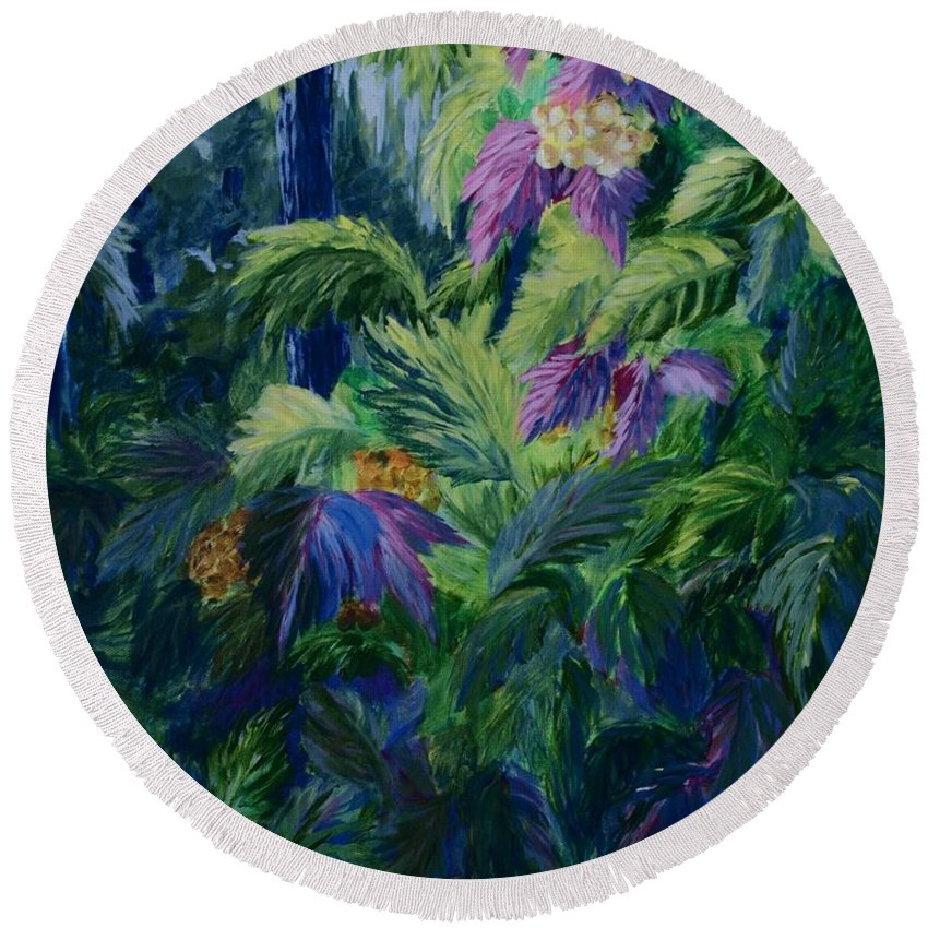 Jungle Round Beach Towel featuring the painting Jungle Delights by Joanne Smoley