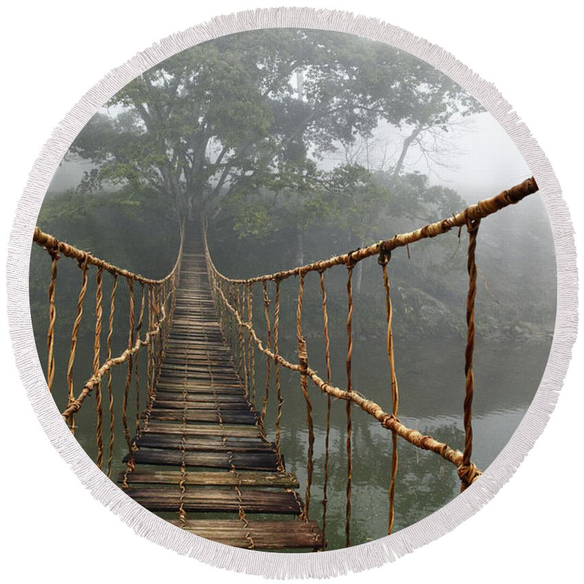Rope Bridge Round Beach Towel featuring the photograph Jungle Journey 2 by Skip Nall