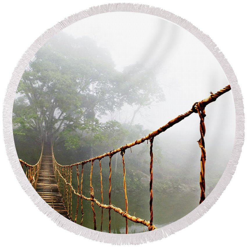 Rope Bridge Round Beach Towel featuring the photograph Jungle Journey by Skip Nall