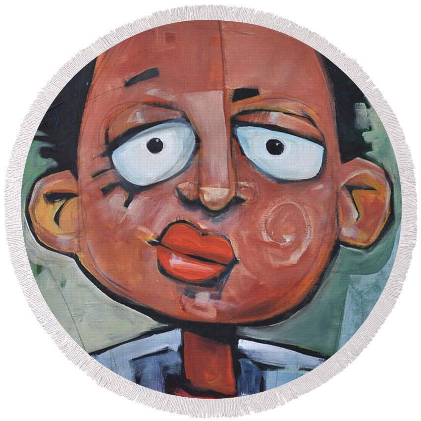 Child Round Beach Towel featuring the painting Junior Artist by Tim Nyberg