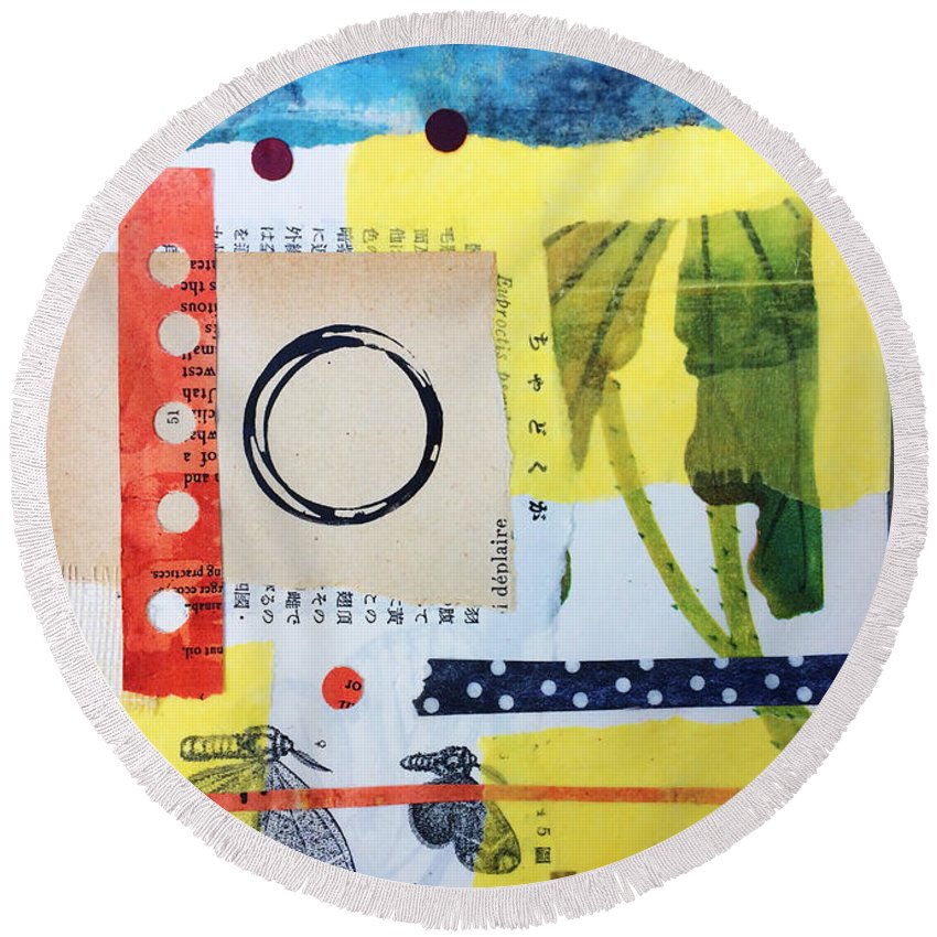 Collage Round Beach Towel featuring the mixed media Juniper by Piper Deggan