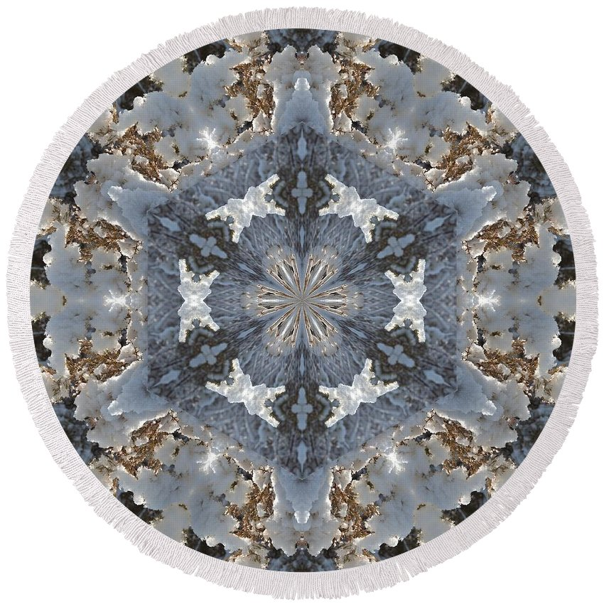 Kaleidoscope Round Beach Towel featuring the photograph Juniper Snow Glow Kaleidoscope by Valerie Kirkwood