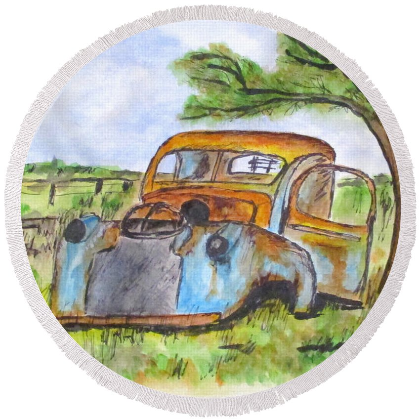 Junk Cars Round Beach Towel featuring the painting Junk Car And Tree by Clyde J Kell