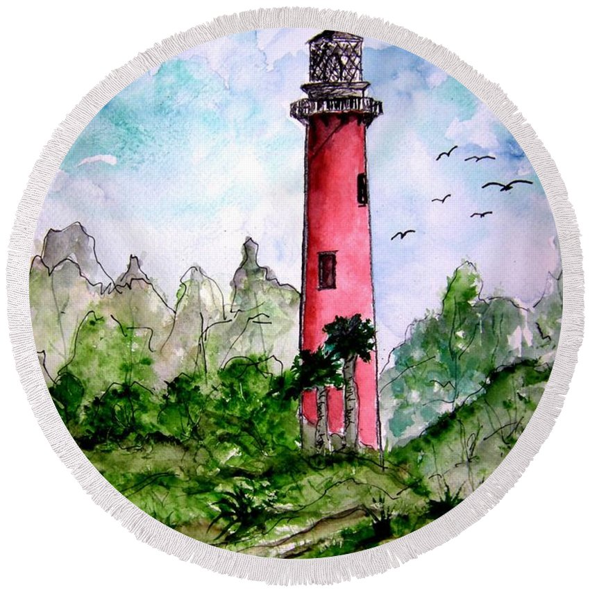 Lighthouse Round Beach Towel featuring the painting Jupiter Florida Lighthouse by Derek Mccrea