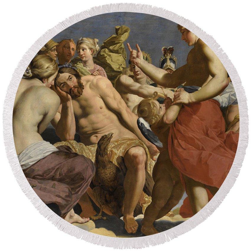 Workshop Of Abraham Janssens Round Beach Towel featuring the painting Jupiter Rebuked By Venus On Mount Olympus by Workshop of Abraham Janssens
