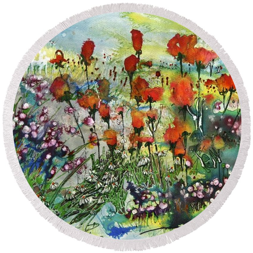 Floral Round Beach Towel featuring the painting Jupiter by Shirley Sykes Bracken