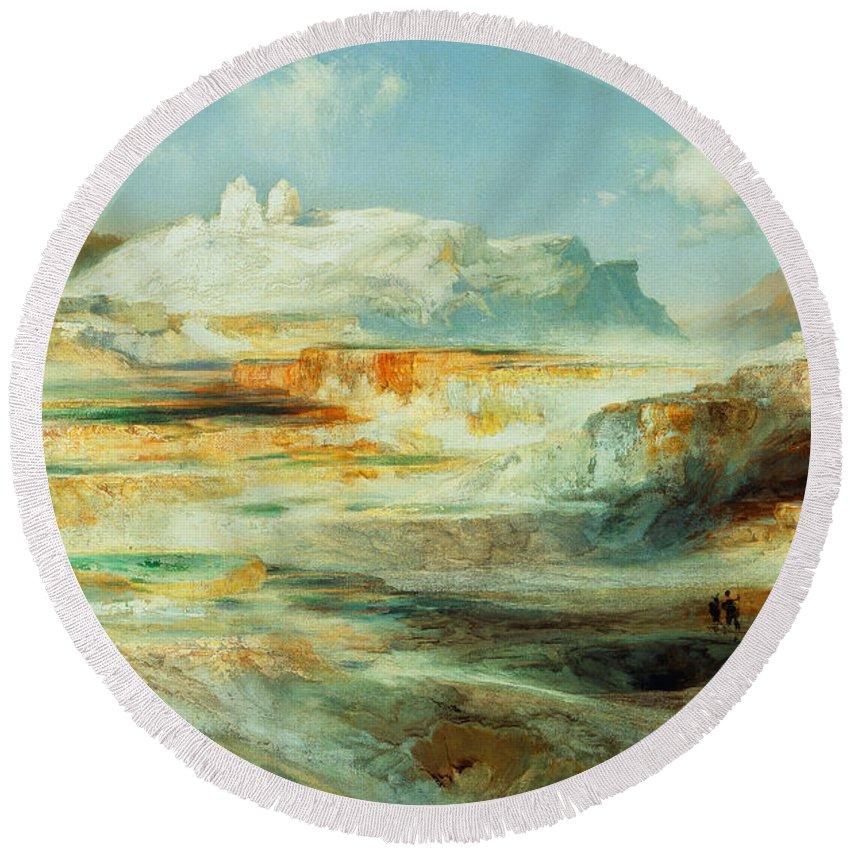 Moran Round Beach Towel featuring the painting Jupiter Terrace Yellowstone by Thomas Moran