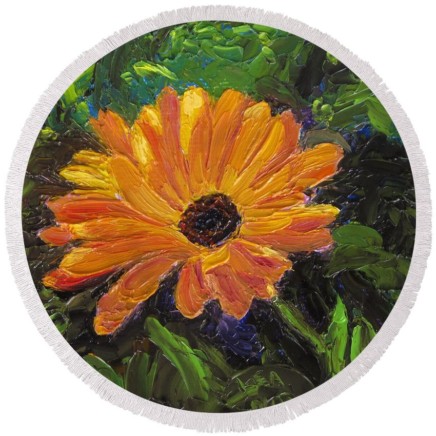 Flower Round Beach Towel featuring the painting Just A Little Sunlight by Lea Novak