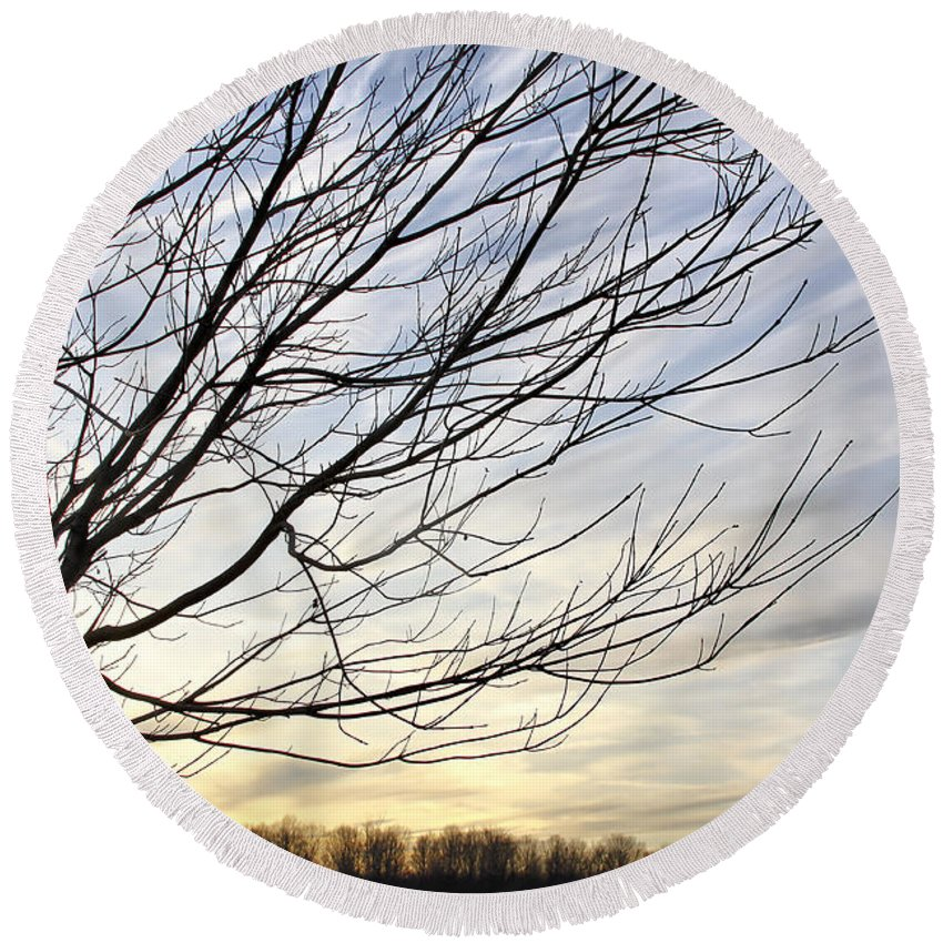 Sky Round Beach Towel featuring the photograph Just A Tree And Clouds by Deborah Benoit