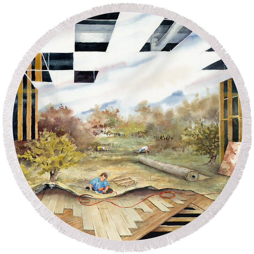 Landscape Round Beach Towel featuring the painting Just Another Unfinished Landscape Painting by Sam Sidders