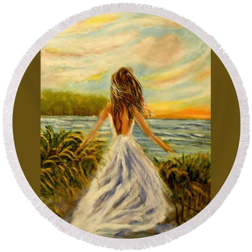 #beach Round Beach Towel featuring the painting Just Be by Linda Waidelich