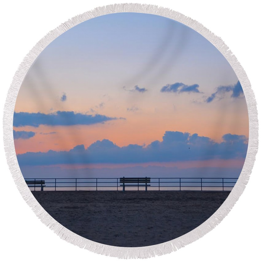 Just Round Beach Towel featuring the photograph Just Before Sunrise In Asbury Park by Bill Cannon