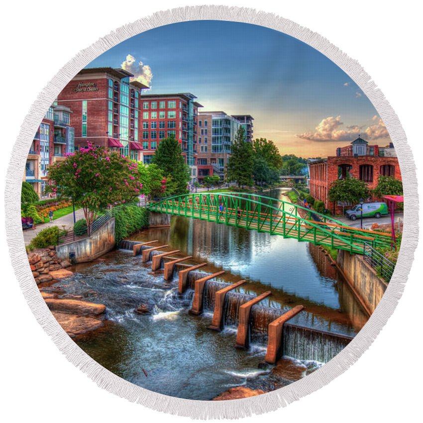 Reid Callaway The Main Attraction Round Beach Towel featuring the photograph Just Before Sunset 2 Reedy River Falls Park Greenville South Carolina Art by Reid Callaway