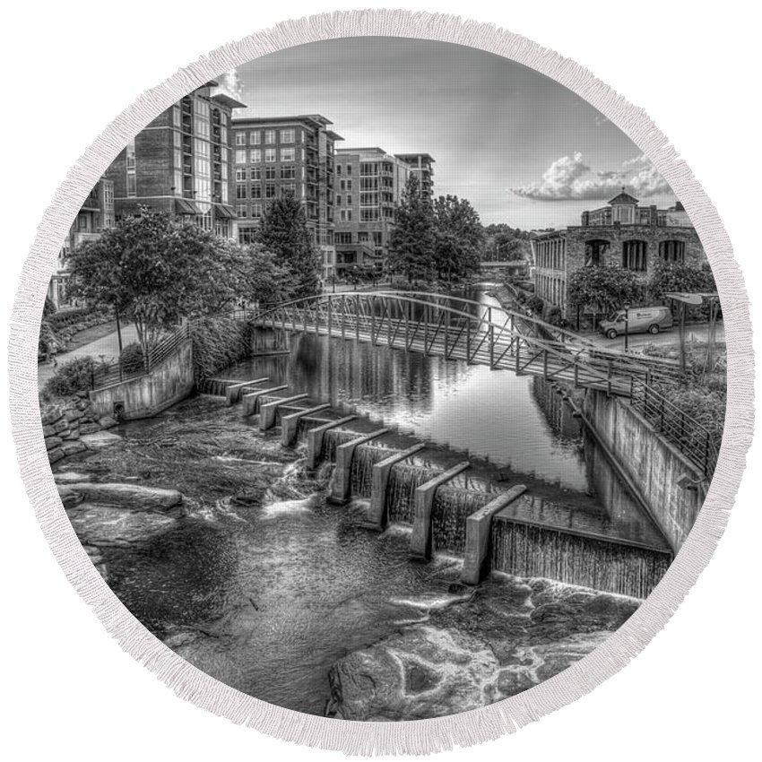 Reid Callaway The Main Attraction Round Beach Towel featuring the photograph Just Before Sunset B W Reedy River Falls Park Greenville South Carolina Art by Reid Callaway