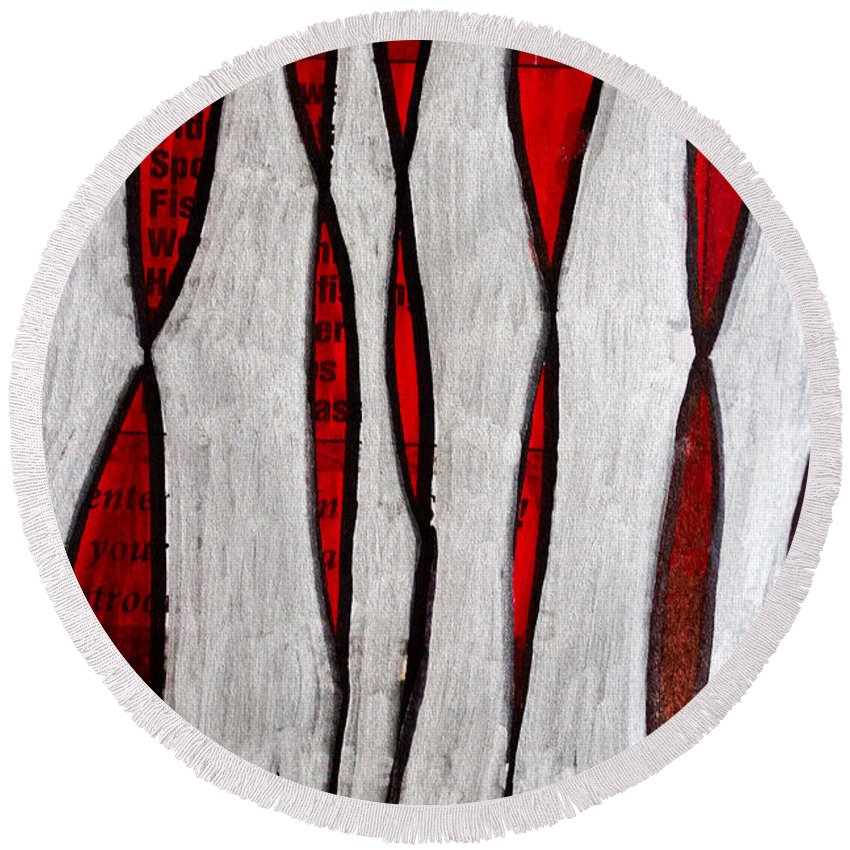 Bones Round Beach Towel featuring the painting Just Bones - Ink Abstract by Marie Jamieson
