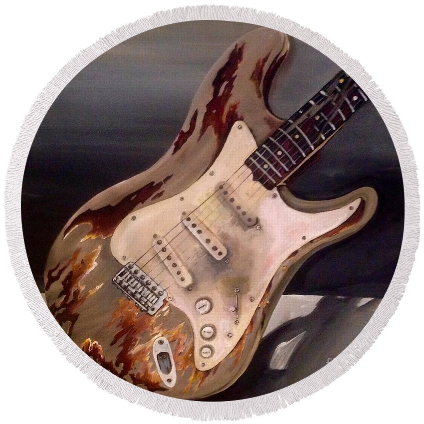 Music Round Beach Towel featuring the painting Just Broken In- Old Guitar by Johnnie Stanfield