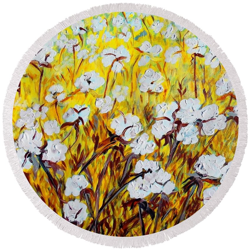 Just Cotton Round Beach Towel featuring the painting Just Cotton by Eloise Schneider Mote