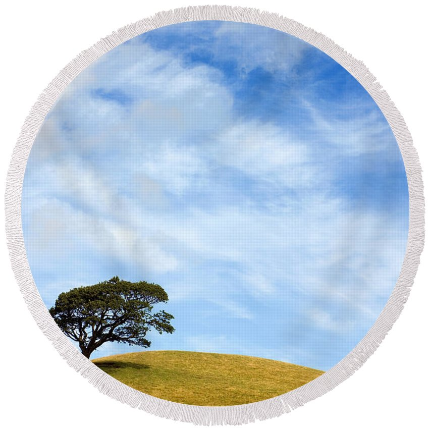 Landscape Round Beach Towel featuring the photograph Just One Tree Hill by Mal Bray
