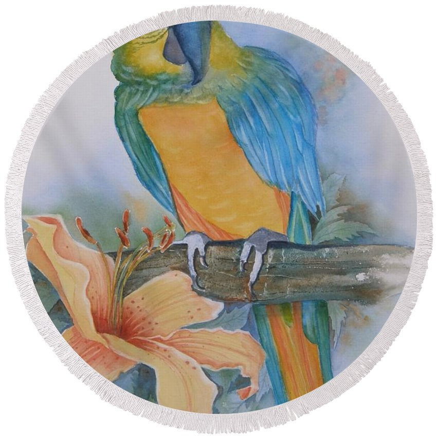 #parrot Round Beach Towel featuring the painting Just Peachy by Midge Pippel