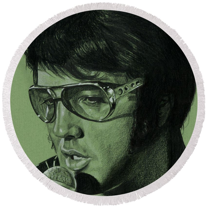 Elvis Round Beach Towel featuring the drawing Just Pretend by Rob De Vries