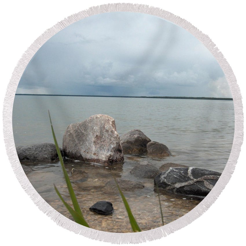 Rocks Water Lake Sky Nature Clouds Round Beach Towel featuring the photograph Just Rocks by Andrea Lawrence