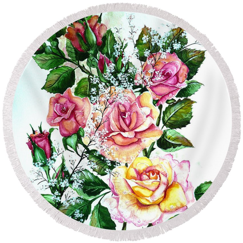 Floral Paintings Pink Paintings  Rose Paintings  Flower Paintings Botanical Paintings Greeting Card Paintings Canvas Prints Paintings Poster Prints Paintings Babies Breath Painting  Round Beach Towel featuring the painting Just Roses by Karin Dawn Kelshall- Best