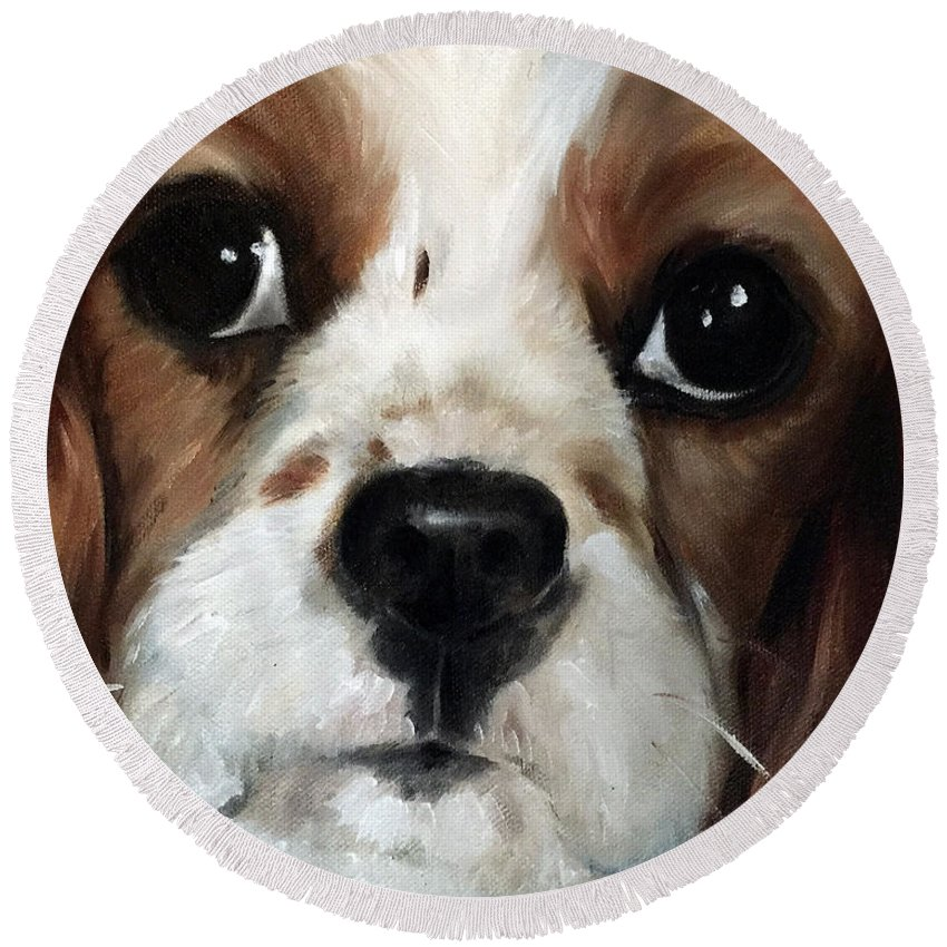 King Charles Spaniel Round Beach Towel featuring the painting Just Sweet by Mary Sparrow