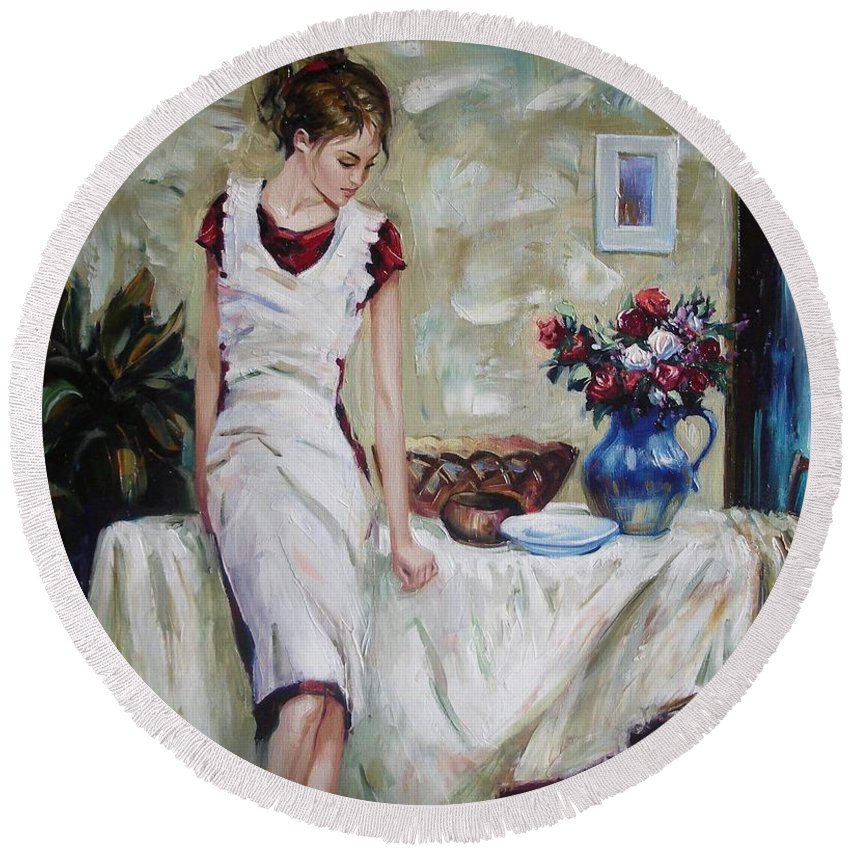 Figurative Round Beach Towel featuring the painting Just The Next Day by Sergey Ignatenko
