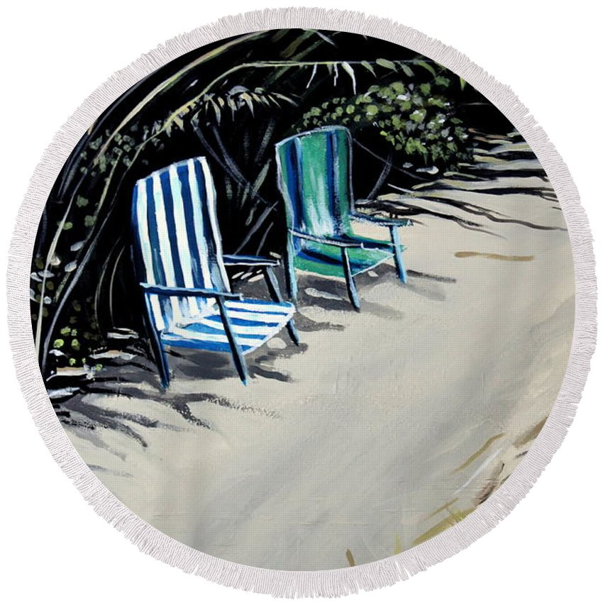Beach Chairs Round Beach Towel featuring the painting Just The Two Of Us by Elizabeth Robinette Tyndall