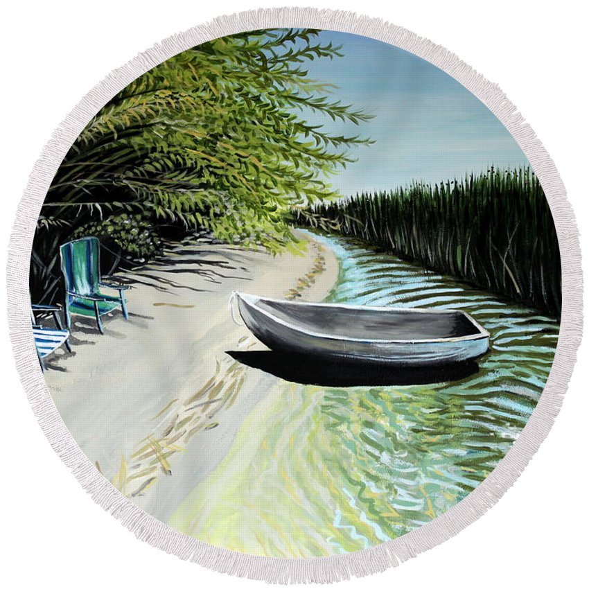 Boat Round Beach Towel featuring the painting Just You And I by Elizabeth Robinette Tyndall