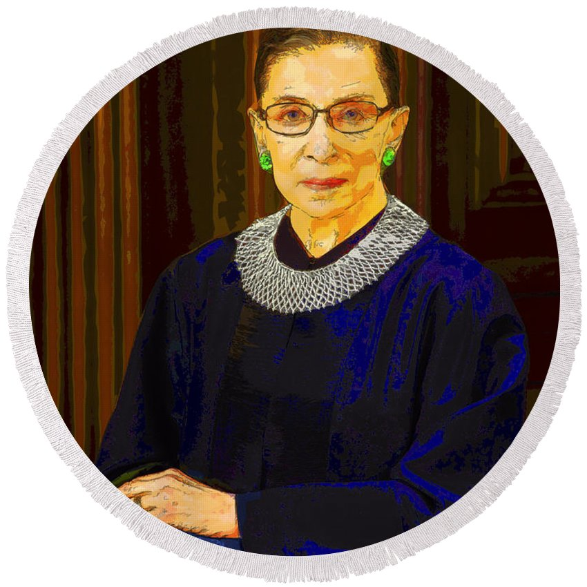 Justice Round Beach Towel featuring the photograph Justice Ginsburg by C H Apperson
