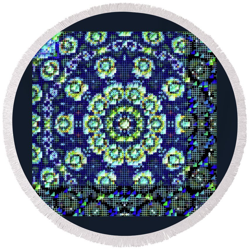 Mandala Art Round Beach Towel featuring the painting Justice by Jeelan Clark
