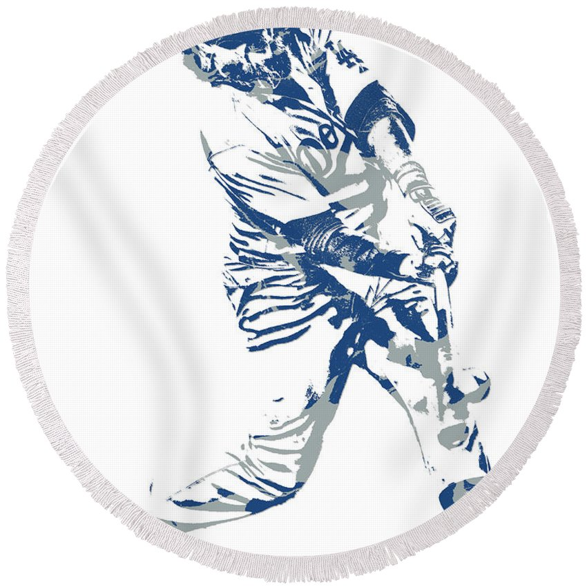 Justin Turner Los Angeles Dodgers Pixel Art 10 Round Beach Towel For