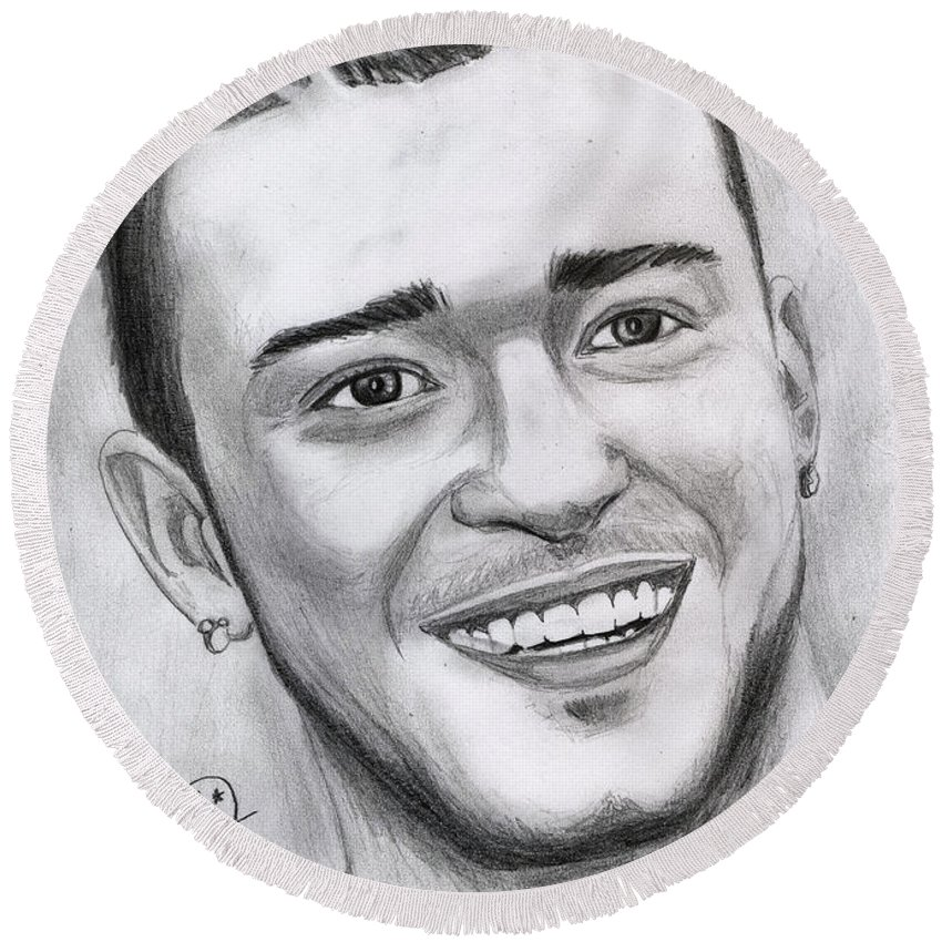 Justing Timberlake Round Beach Towel featuring the drawing Justing Timberlake Portrait by Alban Dizdari