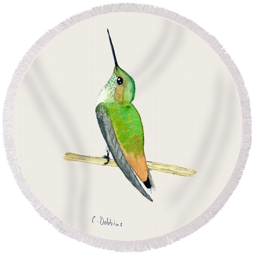 Bird Art Round Beach Towel featuring the painting Juvenile Allen's Hummingbird by Christiane Dobbins