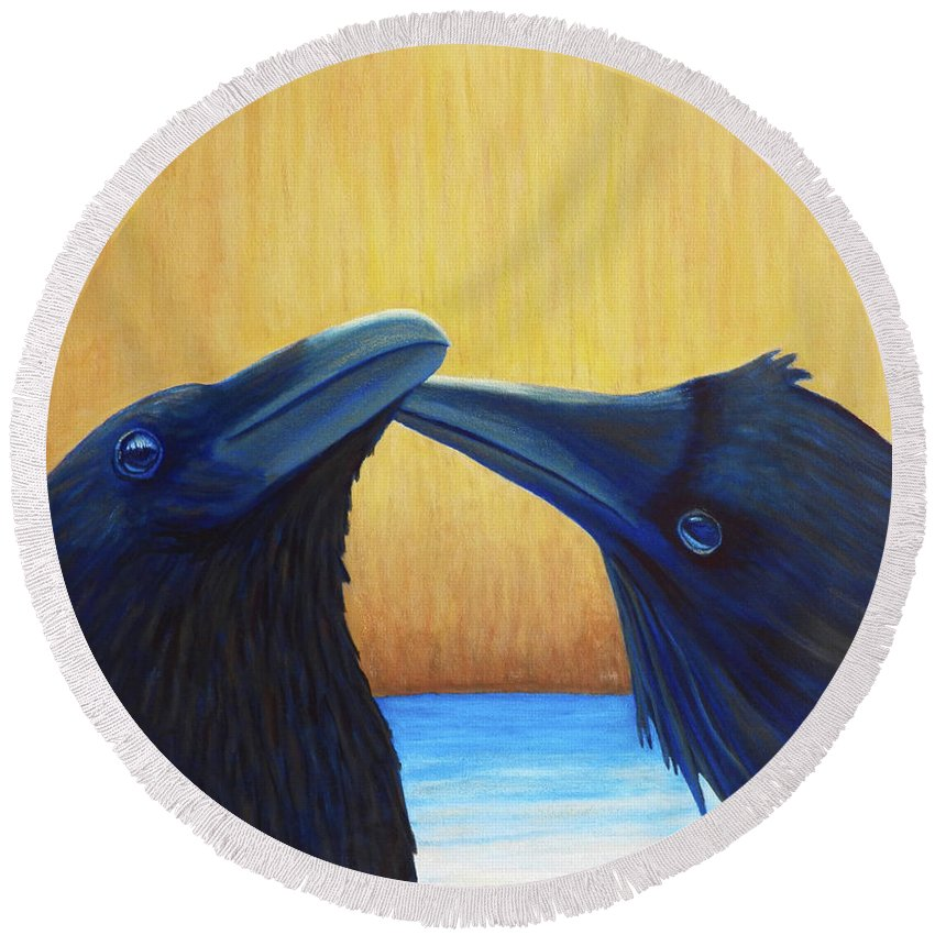 Ravens Round Beach Towel featuring the painting K And B by Brian Commerford