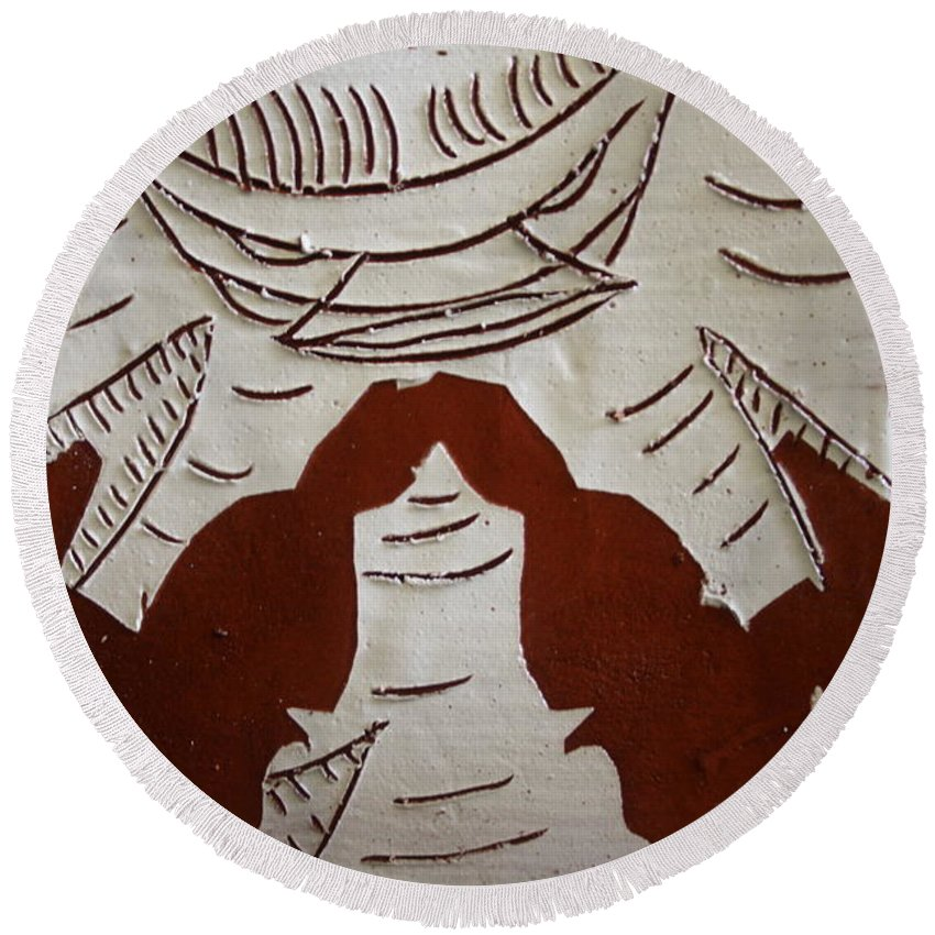 Jesus Round Beach Towel featuring the ceramic art Kabaka Atuuse- The King Has Arrived - Tile by Gloria Ssali