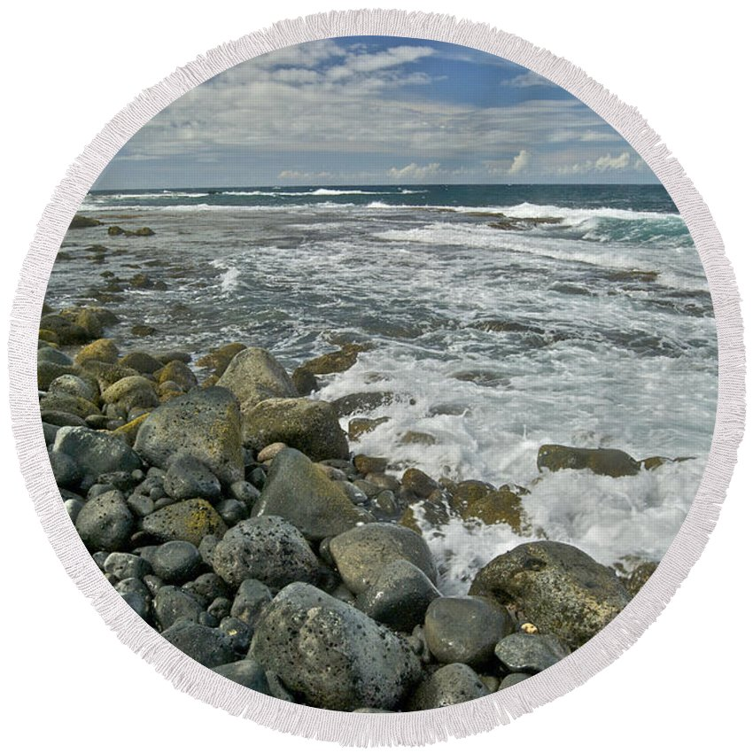 Hawaii Round Beach Towel featuring the photograph Kaena Point Shoreline by Michael Peychich
