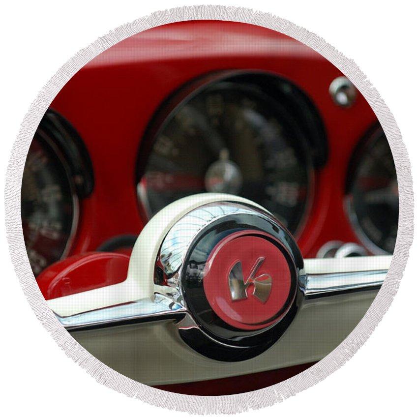 Car Round Beach Towel featuring the photograph Kaiser Steering Wheel by Jill Reger
