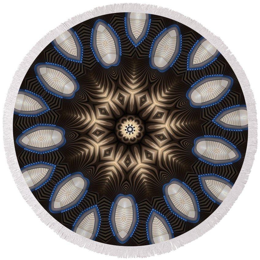 Kaleidoscope Round Beach Towel featuring the digital art Kaleidoscope 91 by Ron Bissett